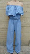 Vintage 80s Blue Jumpsuit Go Go Romper Playsuit size 10/12 by Cleo Apparel (JS2)