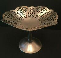 International Silverplate Round Lovelace Filigree Silverplate Compote Candy Dish