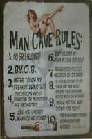 MAN CAVE RULES Metal Tin Sign Vintage Retro Shed Garage Bar Man Cave Wall Plaque