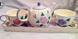 Herman Dodge & Son Inc Lavender & Pink Floral Hand paintedTea Service Set