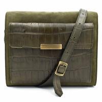 Escada Oxidite Olive Green Suede/Croc Embossed Leather Shoulder Bag Handbag