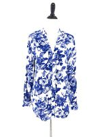 Soft Surroundings Tunic Blue White Roses Top Size Petite Medium Rayon