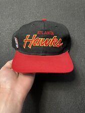 Vintage 90s Atlanta Hawks Sports Specialties Script Snapback Hat Cap NBA