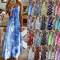 Womens Floral Casual Ladies CAMI Holiday Loose Sundress Maxi Long Slip Dress