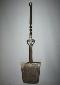 Antique SIGNED 1800's Hand Forged Iron Peel Spatula Fireplace Primitive Kitchen
