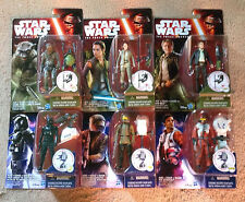 "Star Wars The Force Awakens Set 6 3.75"" Figures Jungle Space Wave 4 2016 HAN REY"