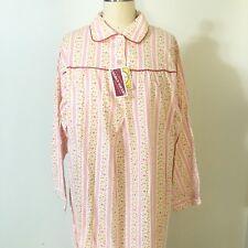 d7611622d8 Vtg Women s Sleepwear Granny Long Neon Pink Orange White Floral Striped  Size L