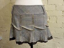 Beige check mini skirt, Jane Norman, size 8, raw edge finish, BNWT