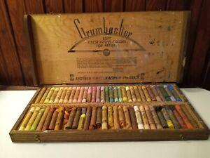 VTG Grumbacher Series 11 Soft Pastels 60 Count Set No.6 Portrait Wooden Box