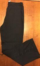 St. John Sport Marie Gray Corset Style Roping Detail Black Pants Size 6 Stretch