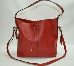Lauren Ralph Lauren Red Leather Large Hobo Shoulder Bag