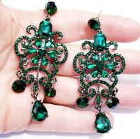 Green Rhinestone Chandelier Drop Earrings Statement Prom Jewelry 3 inch