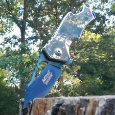 MTECH Blue TITANIUM Blade Spring Assisted BOTTLE OPENER Folding Pocket Knife