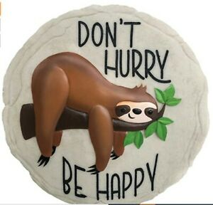 """New Spoontiques Stepping Stone Wall Decor Plaque SLOTH Be Happy 9.5/8"""" gift"""