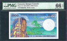 Comoros ND (1997) P-13 PMG Gem UNC 66 EPQ 2500 Francs