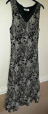 Vintage Karida Designer Dress Black Cream Shift Animal Print Dress Lined Ex Cond