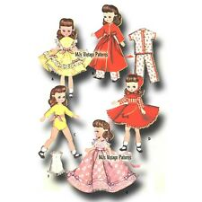 """Vtg Doll Clothes Pattern 8"""" Betsy McCall Robe Pajamas Leotard Formal Gown Dress"""