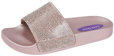 Kids Fur Jewel Sliders Fluffy Mules Slippers Flip Flops Flat Sandals Girls Shoes