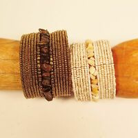 """Set of 2"" Wide Handmade Beaded Stone Chip Cuff Bracelet FREE SHIPPING!"