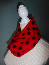 red polka dot snood, spotted loop scarf, red spotted scarf, fleece neck warmer