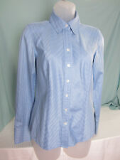 AnnTaylor Blouse Size 2 Fitted Blue Faint Stripes All Cotton Button Cuffs NWT