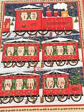 Train Fabric Advent Calendar Christmas Craft Panel Engine Metallic Makower