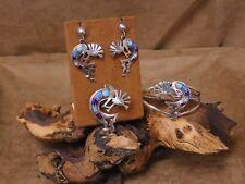 Earring, Pendant, and Bracelet Set Navajo Sterling Silver Kokopeli Multi Stone