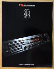 NAKAMICHI Receiver RE-1, RE-2, RE-3 ~ Vintage Audio Brochure/ Catalog ~ Original