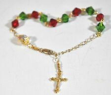 Christmas Ankle Bracelet Rosary Red, Green & Clear Crystal Bicone Beads