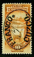 "PERU 1884 PROVISIONAL ISSUES Pacific War 10c ""FRANCO CUZCO"" srch Sc#8N15 mint MH"