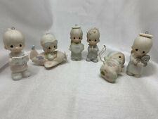 1984-1985-1986-1996 Lot of 6 Vintage Precious Moments Ornaments Porcelain Bisque