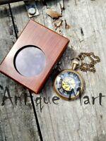 Nautical Brass Timekeeper Antique Pocket Watch Clocks With Vintage Wooden Box