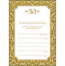 Pack of 10 Golden Wedding Anniversary Party Invitations, 50 Years - Ann-50-02