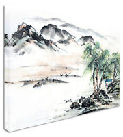 Abstract Japanese Lake Canvas Wall Art Picture Print