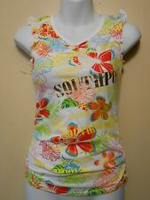 South Pole Girls Floral Vee Neck Sleeveless Long Top White Exotic M/10-12 NWT