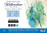 Bockingford  Water Colour Pad.Cold Pressed. Made in UK by Vesey Gallery A4 to A2