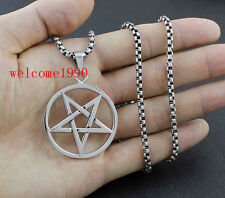 Men Stainless Steel pentagram satanic symbol Pendant Necklace + Rolo Chain  22''