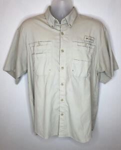 Columbia PFG Fishing Gear Tan Shirt Medium Vented Outdoors UPF 30+