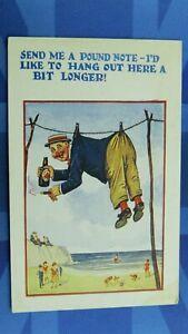 Vintage Comic Postcard 1920's Bass Pale Ale Beer Bottle SEND ME A POUND NOTE