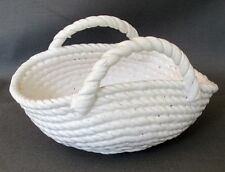 Unusual Porcelain Basket Coiled Rope white Decorative Beach House Ready