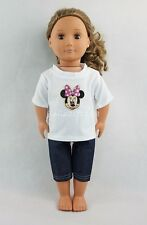 For 18''American Girl Doll Clothes Pink Minnie Mouse Pattern T-shirt Jeans Gifts