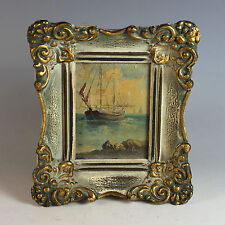 Antique Miniature Oil Painting of a Sailing Ship