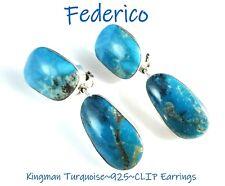 FEDERICO JIMENEZ~Classic Style~Kingman Turquoise~925~Dangle Drop CLIP Earrings