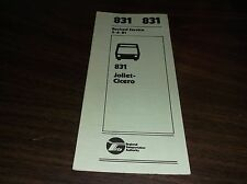 APRIL 1981 CHICAGO RTA ROUTE 831 JOLIET BUS SCHEDULE
