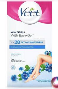 Veet Easy-Gel Wax Strips For Body & Leg - Sensitive Skin x 20