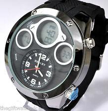 Henley Mens Crazy BIG Black Analogue-Digital Sport Watch Alarm LCD Quartz Chrono