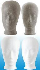 Styroporkopf grau-weiß 4er Set  je 2x Frauen und Kinderkopf