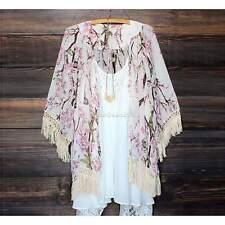 Women Chiffon Kimono Blouse Coat Boho Floral Cardigan Jacket Beach Cover Up Tops