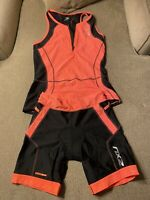 2XU Orange Black Triathlon Cycling Jersey Padded Shorts Womens Medium M Skinsuit