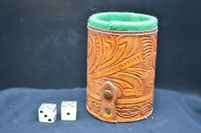 Vtg Leather Dice Cup-9 Dice-Green Felt Inner Lining-Floral Design/Snap Closure